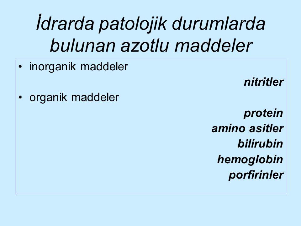 İdrarda patolojik durumlarda bulunan azotlu maddeler inorganik maddeler nitritler organik maddeler protein amino asitler bilirubin hemoglobin porfirin