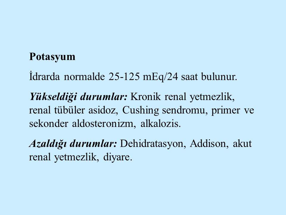 Potasyum İdrarda normalde 25-125 mEq/24 saat bulunur. Yükseldiği durumlar: Kronik renal yetmezlik, renal tübüler asidoz, Cushing sendromu, primer ve s
