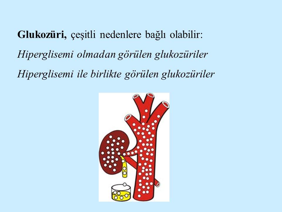 Glukozüri, çeşitli nedenlere bağlı olabilir: Hiperglisemi olmadan görülen glukozüriler Hiperglisemi ile birlikte görülen glukozüriler