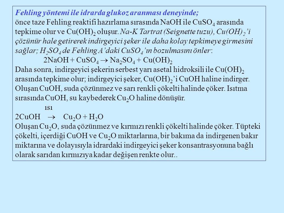 Fehling yöntemi ile idrarda glukoz aranması deneyinde; önce taze Fehling reaktifi hazırlama sırasında NaOH ile CuSO 4 arasında tepkime olur ve Cu(OH)