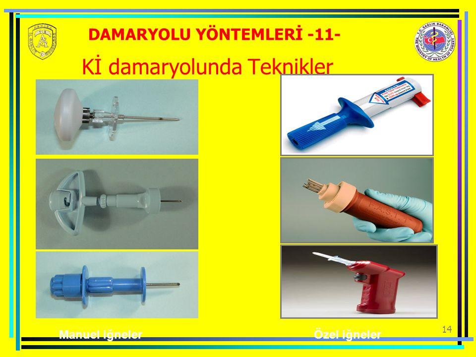 14 Kİ damaryolunda Teknikler Manuel iğnelerÖzel iğneler DAMARYOLU YÖNTEMLERİ -11-
