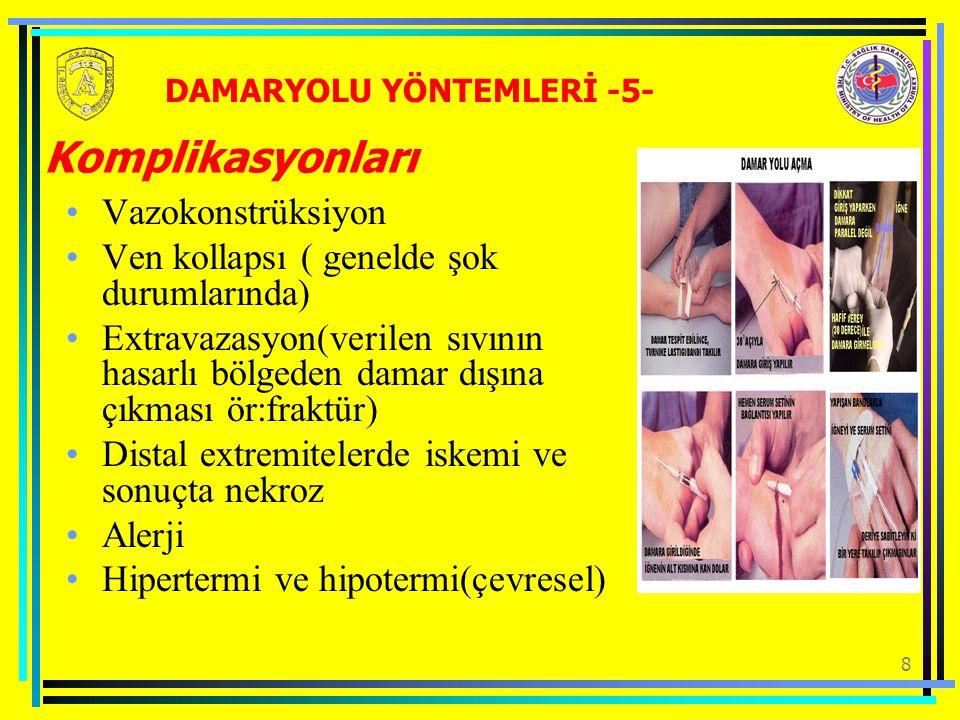 8 Komplikasyonları Vazokonstrüksiyon Ven kollapsı ( genelde şok durumlarında) Extravazasyon(verilen sıvının hasarlı bölgeden damar dışına çıkması ör:fraktür) Distal extremitelerde iskemi ve sonuçta nekroz Alerji Hipertermi ve hipotermi(çevresel) DAMARYOLU YÖNTEMLERİ -5-