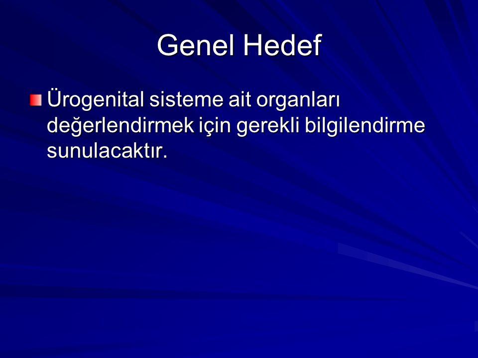 Genel Hedef Ürogenital sisteme ait organları değerlendirmek için gerekli bilgilendirme sunulacaktır.