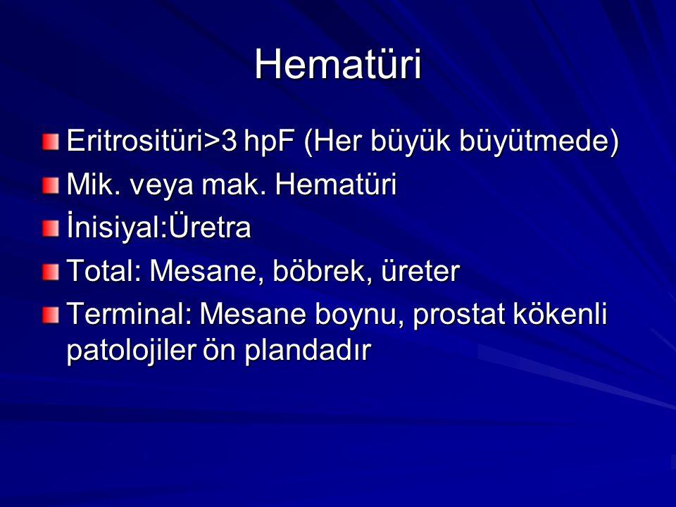 Hematüri Eritrositüri>3 hpF (Her büyük büyütmede) Mik. veya mak. Hematüri İnisiyal:Üretra Total: Mesane, böbrek, üreter Terminal: Mesane boynu, prosta