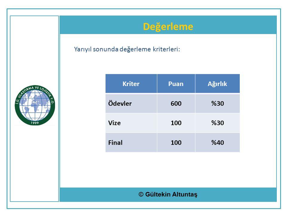 Değerleme © Gültekin Altuntaş Yarıyıl sonunda değerleme kriterleri: KriterPuanAğırlık Ödevler600%30 Vize100%30 Final100%40