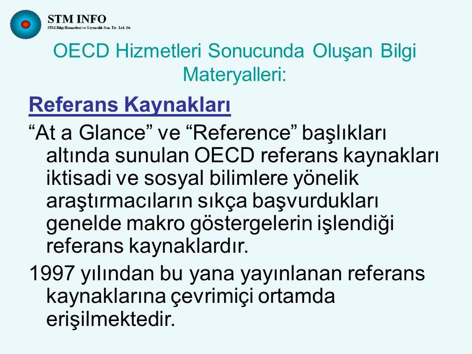 OECD Hizmetleri Sonucunda Oluşan Bilgi Materyalleri: Referans Kaynakları At a Glance ve Reference başlıkları altında sunulan OECD referans kaynakları iktisadi ve sosyal bilimlere yönelik araştırmacıların sıkça başvurdukları genelde makro göstergelerin işlendiği referans kaynaklardır.