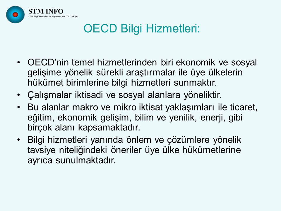 OECD Bilgi Hizmetleri: OECD'nin temel hizmetlerinden biri ekonomik ve sosyal gelişime yönelik sürekli araştırmalar ile üye ülkelerin hükümet birimlerine bilgi hizmetleri sunmaktır.