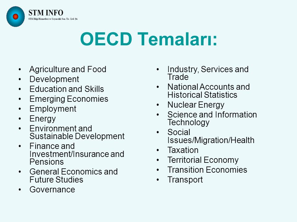 Agriculture and Food Development Education and Skills Emerging Economies Employment Energy Environment and Sustainable Development Finance and Investment/Insurance and Pensions General Economics and Future Studies Governance OECD Temaları: Industry, Services and Trade National Accounts and Historical Statistics Nuclear Energy Science and Information Technology Social Issues/Migration/Health Taxation Territorial Economy Transition Economies Transport