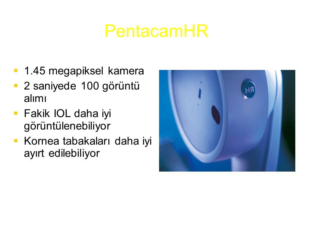 PentacamHR  1.45 megapiksel kamera  2 saniyede 100 görüntü alımı  Fakik IOL daha iyi görüntülenebiliyor  Kornea tabakaları daha iyi ayırt edilebil