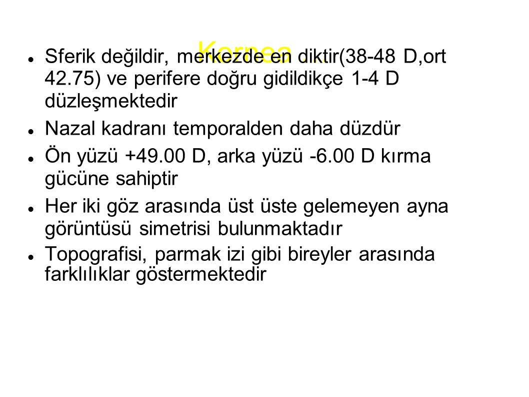Kornea … Sferik değildir, merkezde en diktir(38-48 D,ort 42.75) ve perifere doğru gidildikçe 1-4 D düzleşmektedir Nazal kadranı temporalden daha düzdü