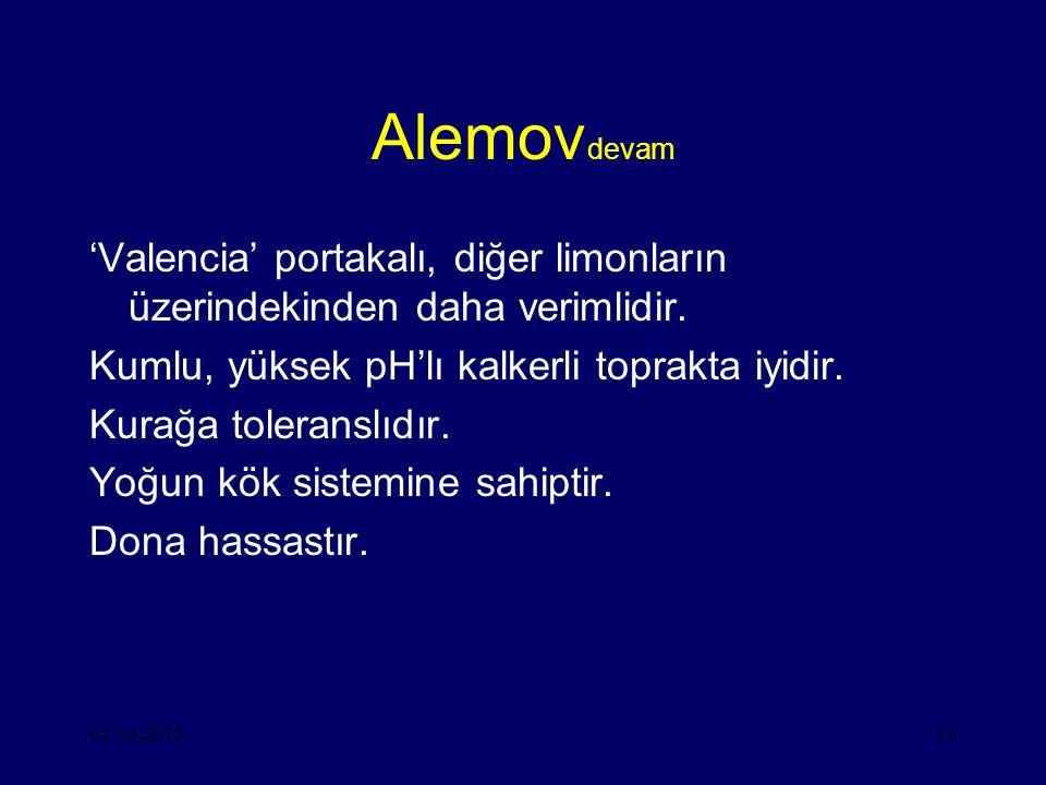 02.04.201514 Alemov devam 'Valencia' portakalı, diğer limonların üzerindekinden daha verimlidir.