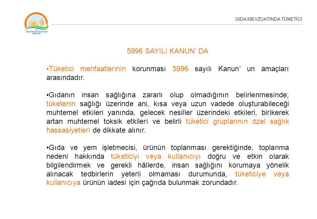 5996 SAYILI KANUN' DA Tüketici menfaatlerinin korunması 5996 sayılı Kanun' un amaçları arasındadır. Gıdanın insan sağlığına zararlı olup olmadığının b