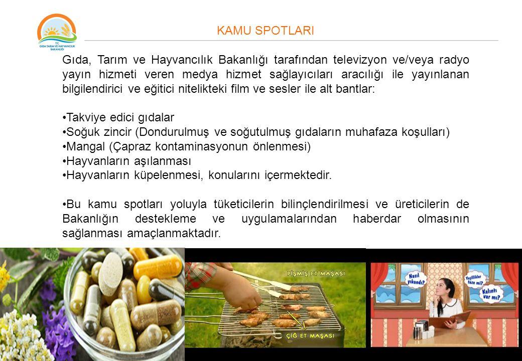 KAMU SPOTLARI Gıda, Tarım ve Hayvancılık Bakanlığı tarafından televizyon ve/veya radyo yayın hizmeti veren medya hizmet sağlayıcıları aracılığı ile ya