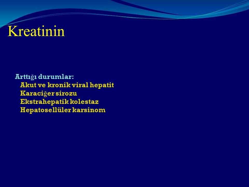 Kreatinin Arttı ğ ı durumlar: Akut ve kronik viral hepatit Karaci ğ er sirozu Ekstrahepatik kolestaz Hepatosellüler karsinom