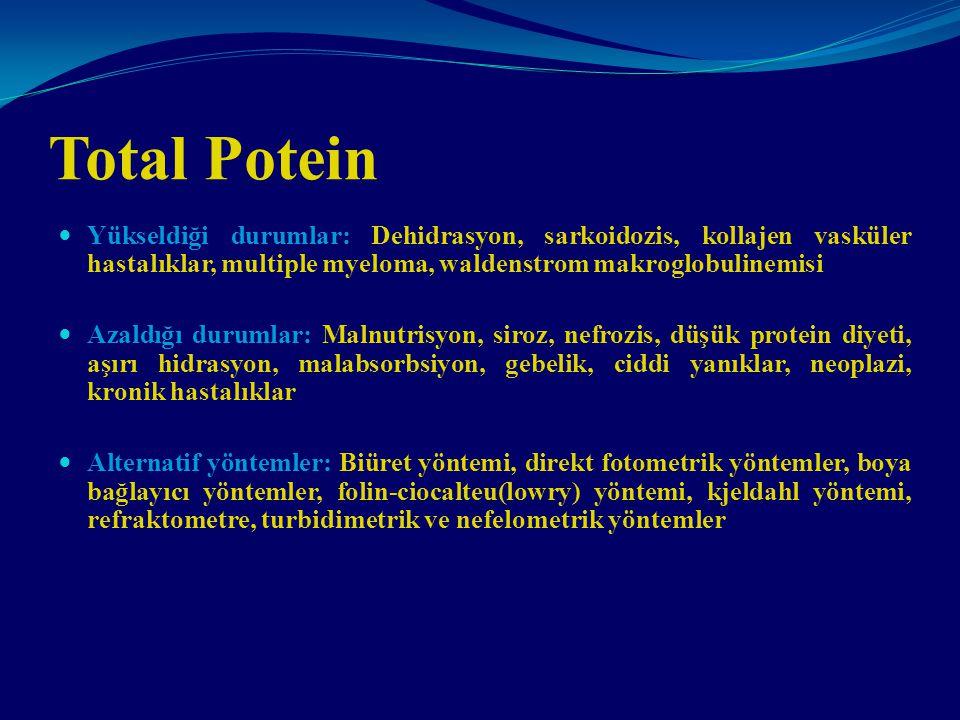 Total Potein Yükseldiği durumlar: Dehidrasyon, sarkoidozis, kollajen vasküler hastalıklar, multiple myeloma, waldenstrom makroglobulinemisi Azaldığı d