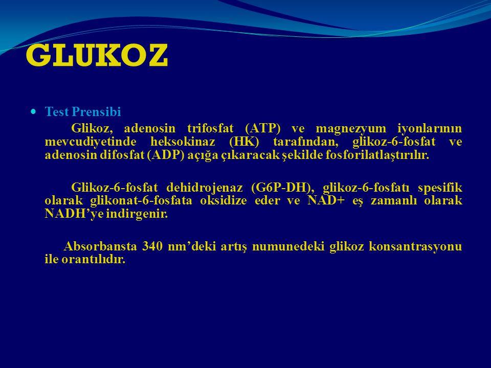 GLUKOZ Test Prensibi Glikoz, adenosin trifosfat (ATP) ve magnezyum iyonlarının mevcudiyetinde heksokinaz (HK) tarafından, glikoz-6-fosfat ve adenosin