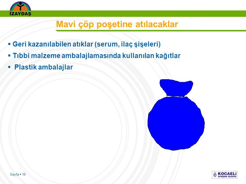 Sayfa  16 Mavi çöp poşetine atılacaklar  Geri kazanılabilen atıklar (serum, ilaç şişeleri)  Tıbbi malzeme ambalajlamasında kullanılan kağıtlar  Plastik ambalajlar