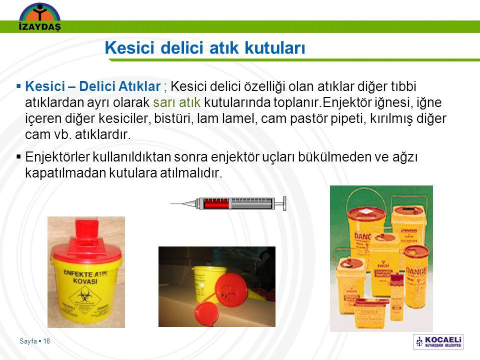Sayfa  18 Kesici delici atık kutuları  Kesici – Delici Atıklar ; Kesici delici özelliği olan atıklar diğer tıbbi atıklardan ayrı olarak sarı atık ku