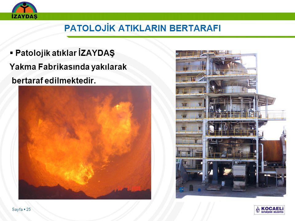 Sayfa  25 PATOLOJİK ATIKLARIN BERTARAFI  Patolojik atıklar İZAYDAŞ Yakma Fabrikasında yakılarak bertaraf edilmektedir.