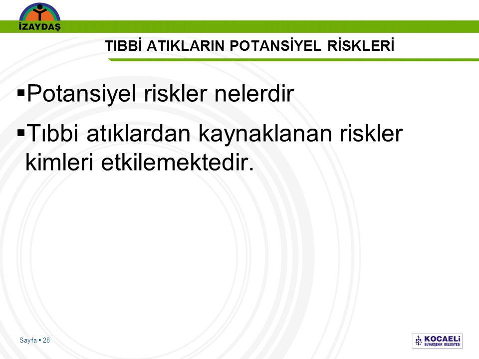 Sayfa  28 TIBBİ ATIKLARIN POTANSİYEL RİSKLERİ  Potansiyel riskler nelerdir  Tıbbi atıklardan kaynaklanan riskler kimleri etkilemektedir.