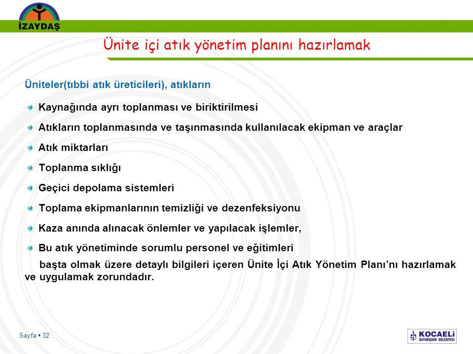 Sayfa  32 Ünite içi atık yönetim planını hazırlamak Üniteler(tıbbi atık üreticileri), atıkların Kaynağında ayrı toplanması ve biriktirilmesi Atıkları