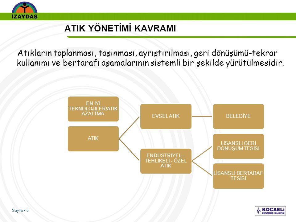 Sayfa  6 ATIK YÖNETİMİ KAVRAMI Atıkların toplanması, taşınması, ayrıştırılması, geri dönüşümü-tekrar kullanımı ve bertarafı aşamalarının sistemli bir
