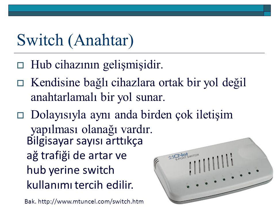 Switch (Anahtar)  Hub cihazının gelişmişidir.  Kendisine bağlı cihazlara ortak bir yol değil anahtarlamalı bir yol sunar.  Dolayısıyla aynı anda bi
