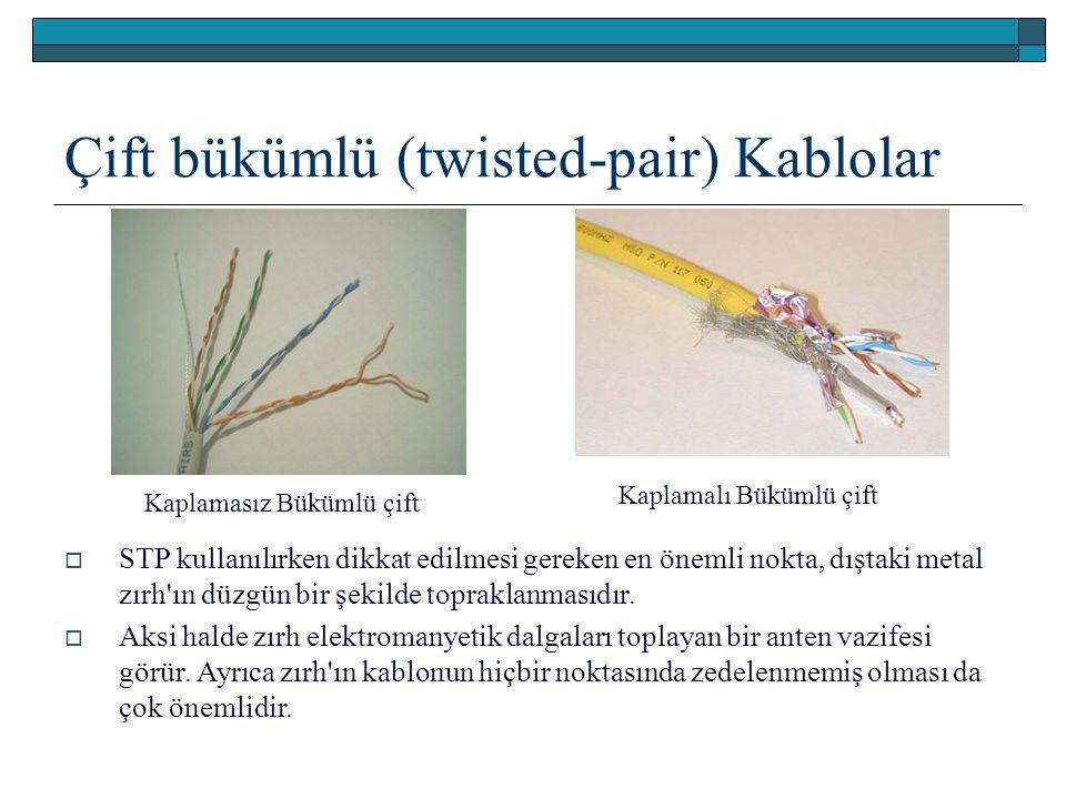 Çift bükümlü (twisted-pair) Kablolar Kaplamalı Bükümlü çift Kaplamasız Bükümlü çift  STP kullanılırken dikkat edilmesi gereken en önemli nokta, dışta
