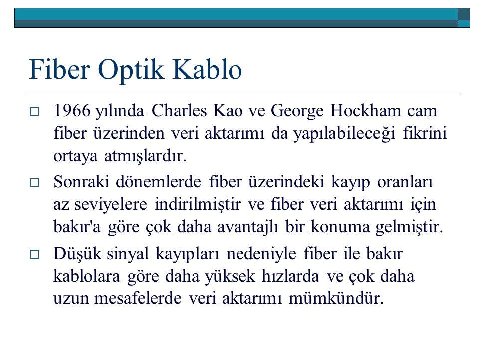 Fiber Optik Kablo  1966 yılında Charles Kao ve George Hockham cam fiber üzerinden veri aktarımı da yapılabileceği fikrini ortaya atmışlardır.  Sonra
