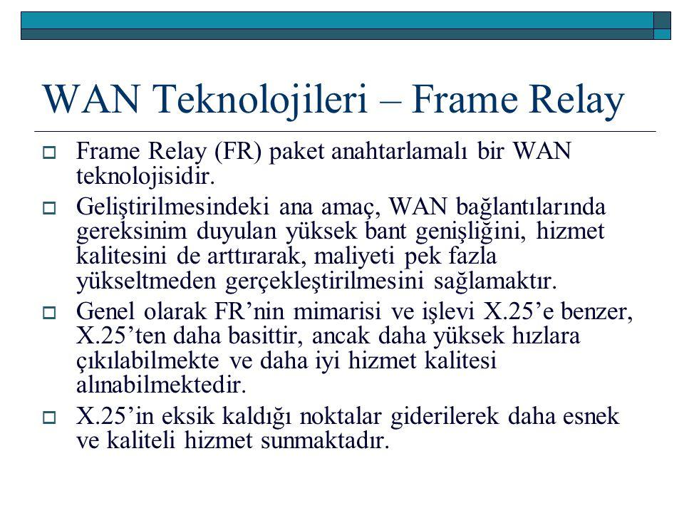 WAN Teknolojileri – Frame Relay  Frame Relay (FR) paket anahtarlamalı bir WAN teknolojisidir.  Geliştirilmesindeki ana amaç, WAN bağlantılarında ger