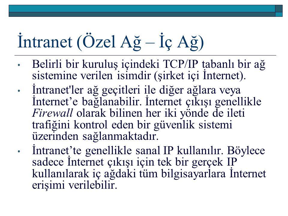 İntranet (Özel Ağ – İç Ağ) Belirli bir kuruluş içindeki TCP/IP tabanlı bir ağ sistemine verilen isimdir (şirket içi İnternet). İntranet'ler ağ geçitle