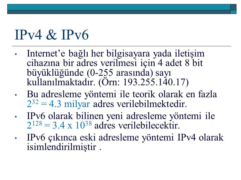 IPv4 & IPv6 Internet'e bağlı her bilgisayara yada iletişim cihazına bir adres verilmesi için 4 adet 8 bit büyüklüğünde (0-255 arasında) sayı kullanılm