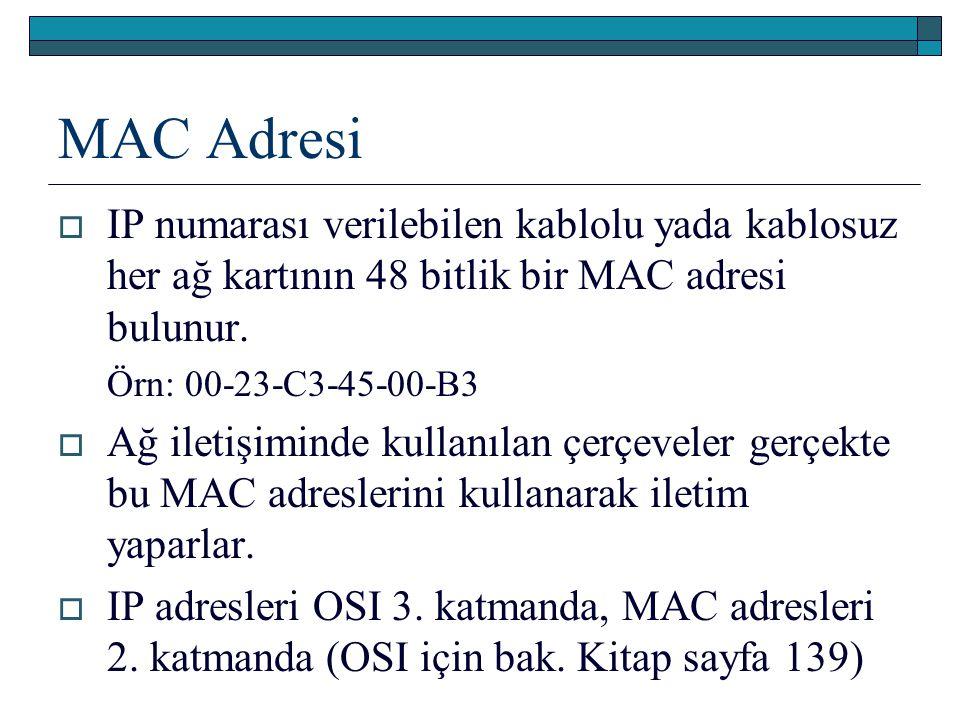 MAC Adresi  IP numarası verilebilen kablolu yada kablosuz her ağ kartının 48 bitlik bir MAC adresi bulunur. Örn: 00-23-C3-45-00-B3  Ağ iletişiminde