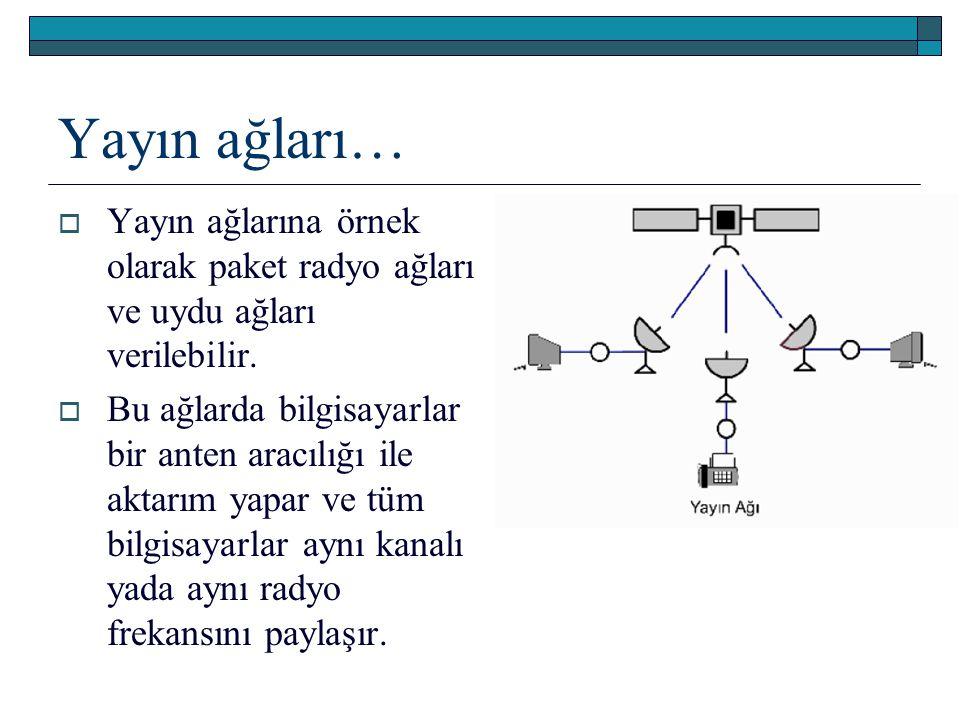 Yayın ağları…  Yayın ağlarına örnek olarak paket radyo ağları ve uydu ağları verilebilir.  Bu ağlarda bilgisayarlar bir anten aracılığı ile aktarım