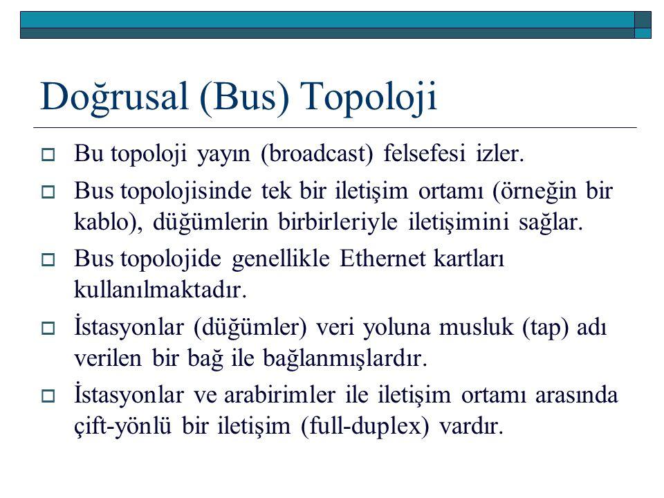 Doğrusal (Bus) Topoloji  Bu topoloji yayın (broadcast) felsefesi izler.  Bus topolojisinde tek bir iletişim ortamı (örneğin bir kablo), düğümlerin b