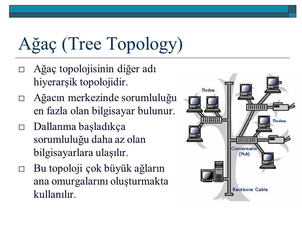 Ağaç (Tree Topology)  Ağaç topolojisinin diğer adı hiyerarşik topolojidir.  Ağacın merkezinde sorumluluğu en fazla olan bilgisayar bulunur.  Dallan