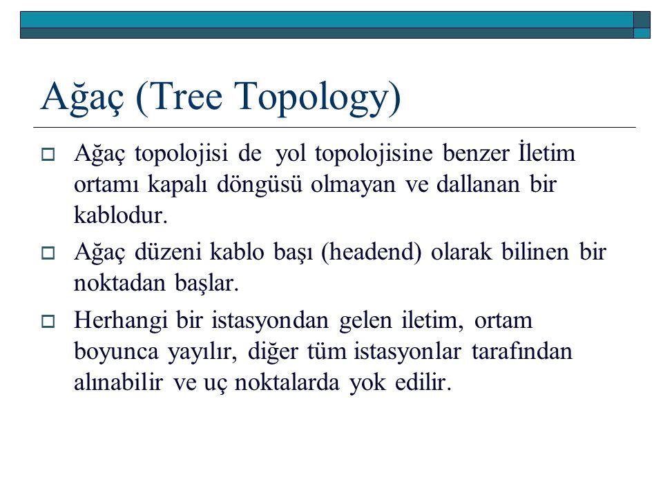 Ağaç (Tree Topology)  Ağaç topolojisi de yol topolojisine benzer İletim ortamı kapalı döngüsü olmayan ve dallanan bir kablodur.  Ağaç düzeni kablo b