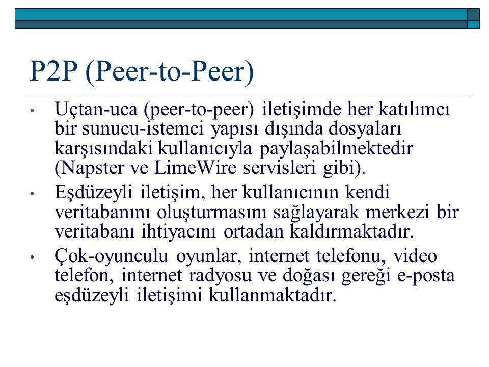 P2P (Peer-to-Peer) Uçtan-uca (peer-to-peer) iletişimde her katılımcı bir sunucu-istemci yapısı dışında dosyaları karşısındaki kullanıcıyla paylaşabilm