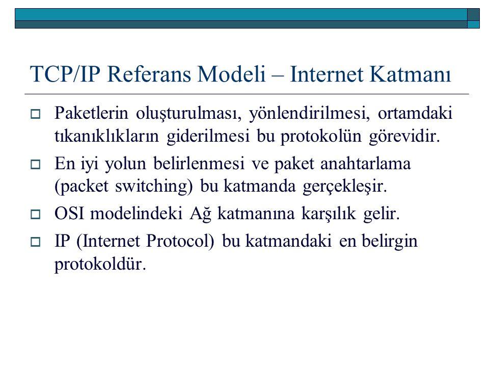 TCP/IP Referans Modeli – Internet Katmanı  Paketlerin oluşturulması, yönlendirilmesi, ortamdaki tıkanıklıkların giderilmesi bu protokolün görevidir.