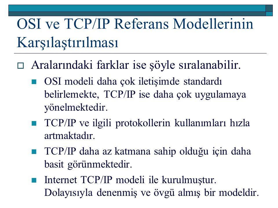 OSI ve TCP/IP Referans Modellerinin Karşılaştırılması  Aralarındaki farklar ise şöyle sıralanabilir. OSI modeli daha çok iletişimde standardı belirle