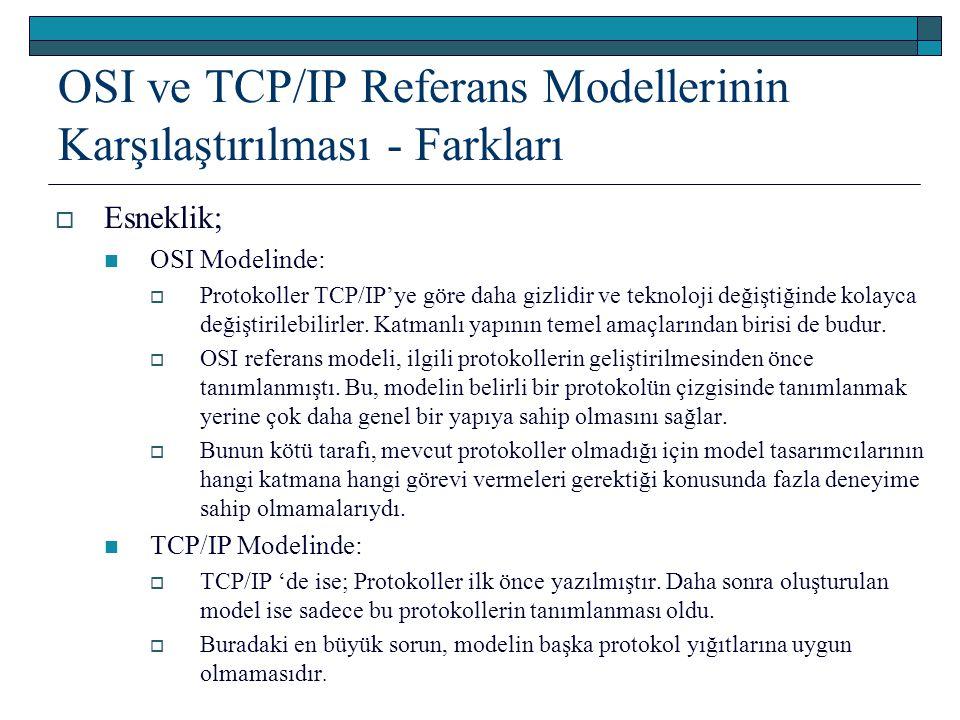 OSI ve TCP/IP Referans Modellerinin Karşılaştırılması - Farkları  Esneklik; OSI Modelinde:  Protokoller TCP/IP'ye göre daha gizlidir ve teknoloji de