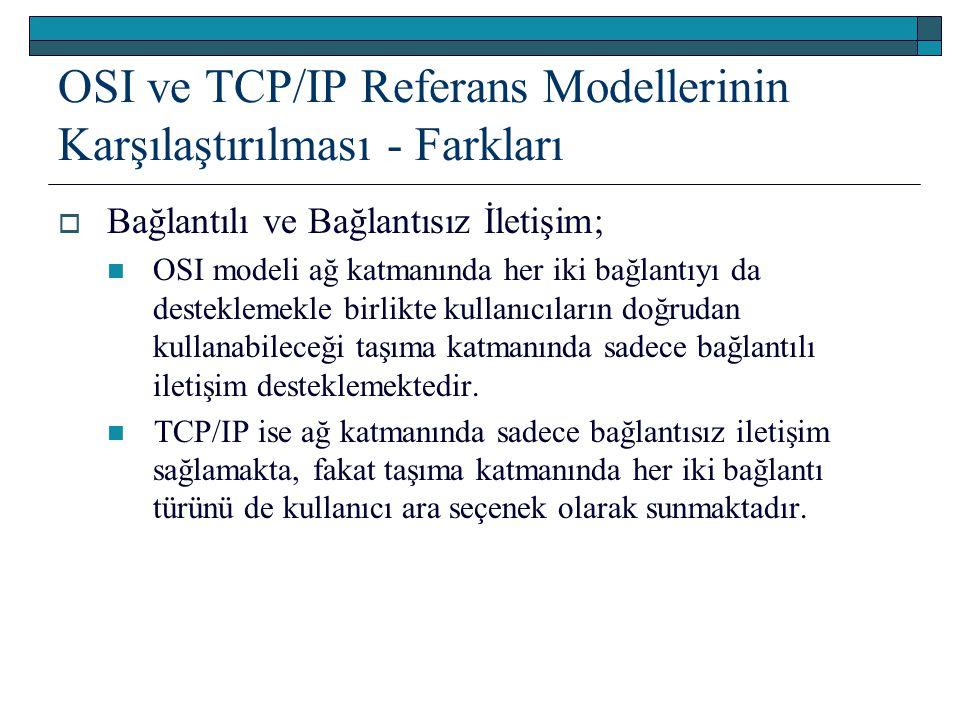 OSI ve TCP/IP Referans Modellerinin Karşılaştırılması - Farkları  Bağlantılı ve Bağlantısız İletişim; OSI modeli ağ katmanında her iki bağlantıyı da