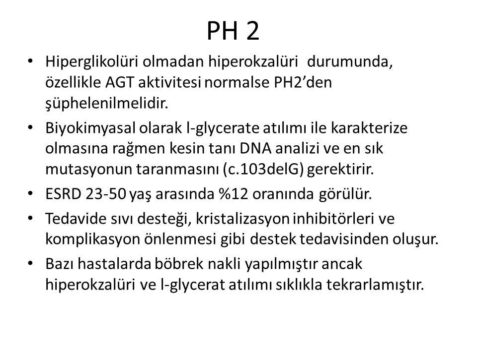 PH 2 Hiperglikolüri olmadan hiperokzalüri durumunda, özellikle AGT aktivitesi normalse PH2'den şüphelenilmelidir. Biyokimyasal olarak l-glycerate atıl