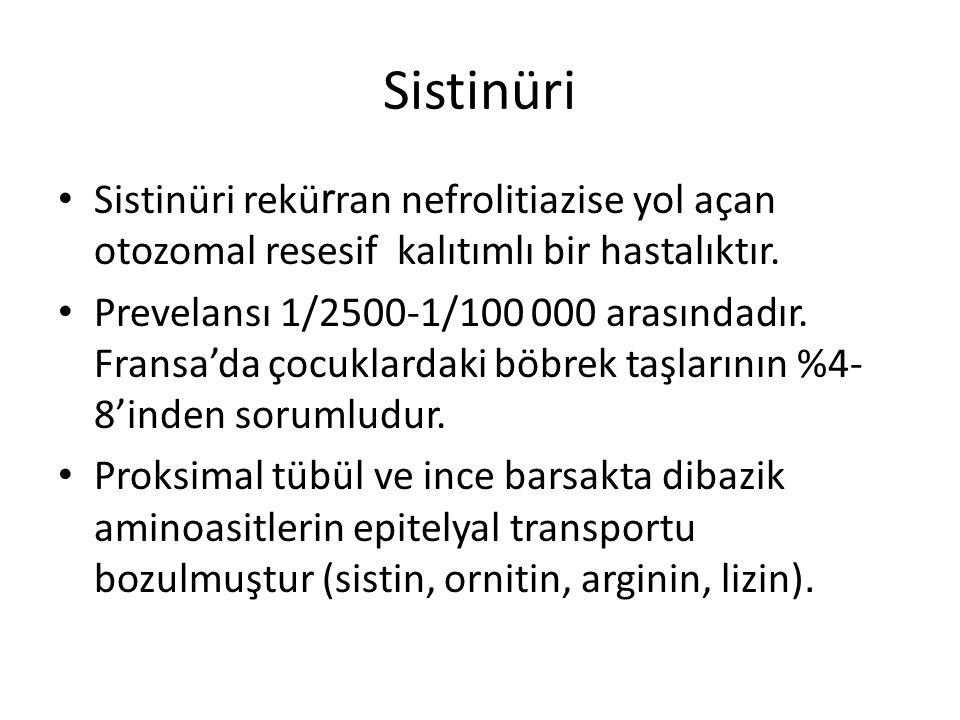 Sistinüri Sistinüri rekü r ran nefrolitiazise yol açan otozomal resesif kalıtımlı bir hastalıktır. Prevelansı 1/2500-1/100 000 arasındadır. Fransa'da
