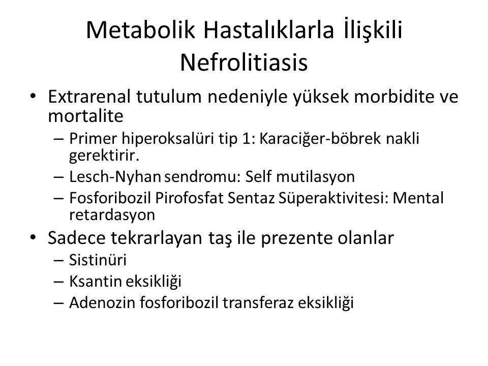 Diğer metabolik hastalıklara sekonder nefrolitiasis olabilir – GSD tip 1 – Fankoni sendromuna yol açan metabolik hastalıklar: Nefropatik sistinozis, tirozinemi tip 1, fruktoz intoleransı, Wilson hastalığı, Solunum zinciri bozuklukları