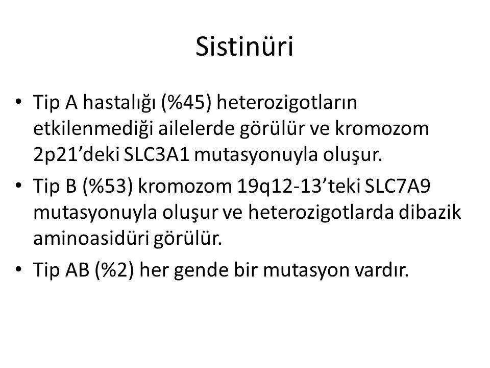 Sistinüri Tip A hastalığı (%45) heterozigotların etkilenmediği ailelerde görülür ve kromozom 2p21'deki SLC3A1 mutasyonuyla oluşur. Tip B (%53) kromozo