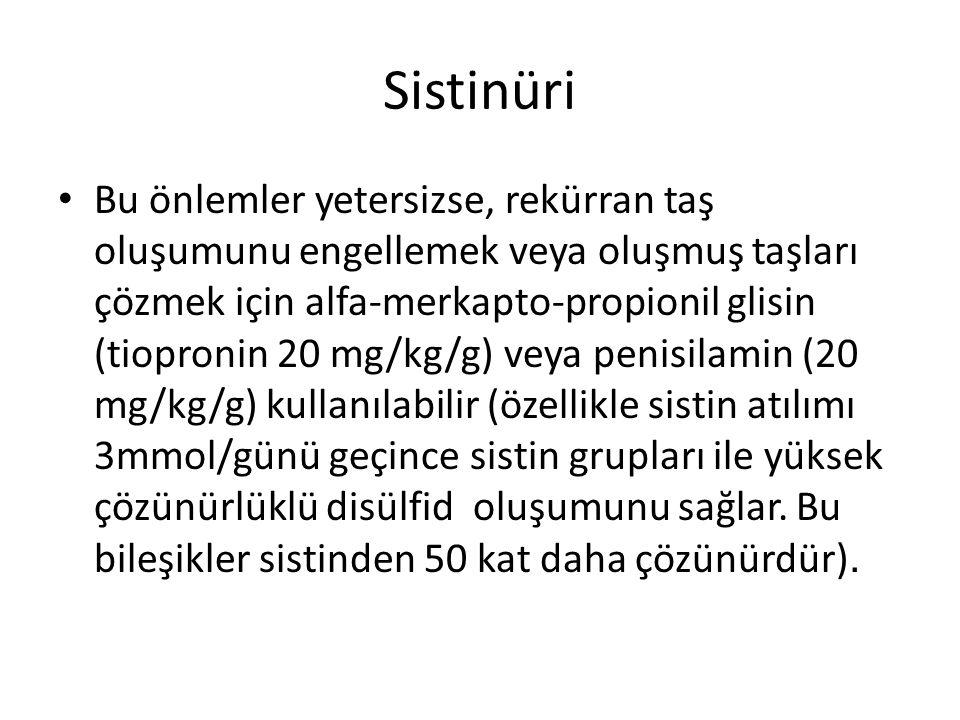 Sistinüri Bu önlemler yetersizse, rekürran taş oluşumunu engellemek veya oluşmuş taşları çözmek için alfa-merkapto-propionil glisin (tiopronin 20 mg/k