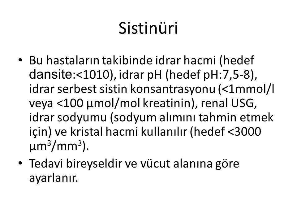 Sistinüri Bu hastaların takibinde idrar hacmi (hedef dansite :<1010), idrar pH (hedef pH:7,5-8), idrar serbest sistin konsantrasyonu (<1mmol/l veya <1