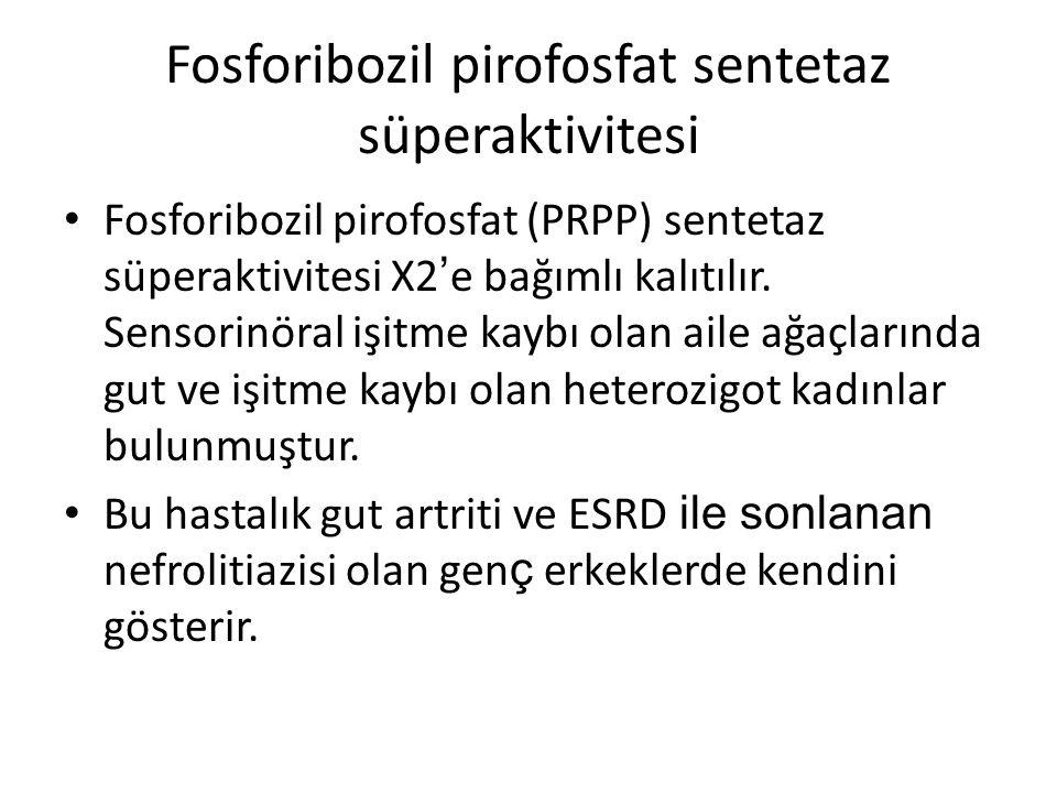 Fosforibozil pirofosfat sentetaz süperaktivitesi Fosforibozil pirofosfat (PRPP) sentetaz süperaktivitesi X2 ' e bağımlı kalıtılır. Sensorinöral işitme