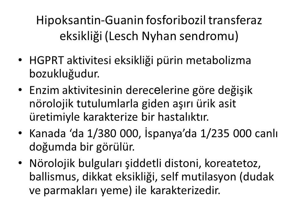 Hipoksantin-Guanin fosforibozil transferaz eksikliği (Lesch Nyhan sendromu) HGPRT aktivitesi eksikliği pürin metabolizma bozukluğudur. Enzim aktivites
